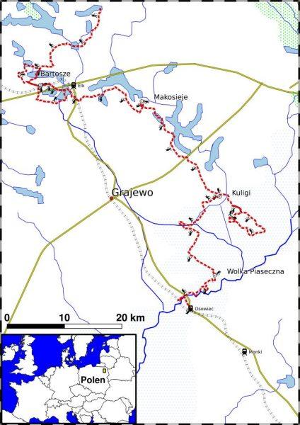 PL_TREK2 overzichtskaart wandeltrektocht Noordoost Polen