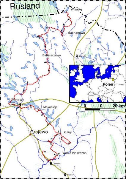 PL_TREK23-overzichtskaart wandeltrektocht Noordoost Polen