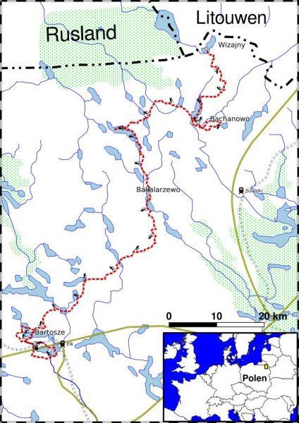 PL_TREK3 overzichtskaart wandeltrektocht Noordoost Polen