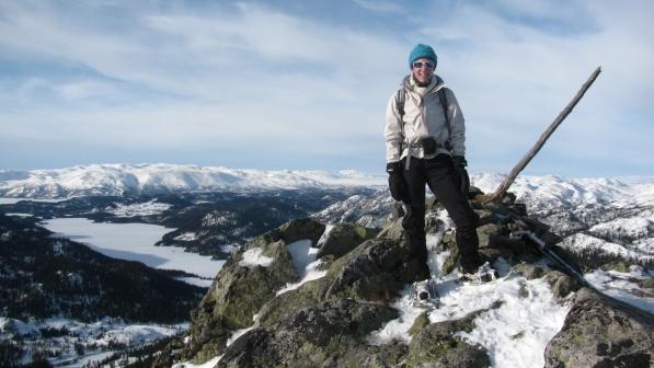 Noorwegen, sneeuwwandelreis, Telemark, Rauland, op de top