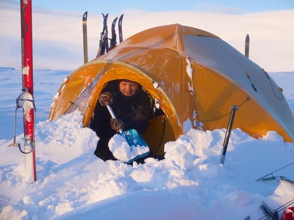Noorwegen, Hardangervidda, kamperen in de sneeuw, winterreis