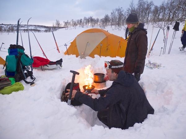Noorwegen, Hardangervidda, winterreis, kamperen in de sneeuw
