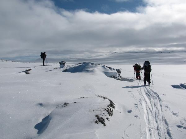 Noorwegen, Hardangervidda, langlaufreis, ondergesneeuwd hutje