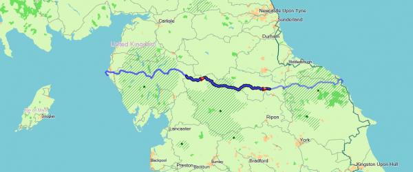 overzichtskaartje etappe 2 van de Coast to Coast walk door de Yorkshire Dales