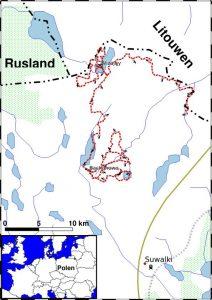 Noordoost Polen overzichtskaart wandelreis Suwalki Landschapspark