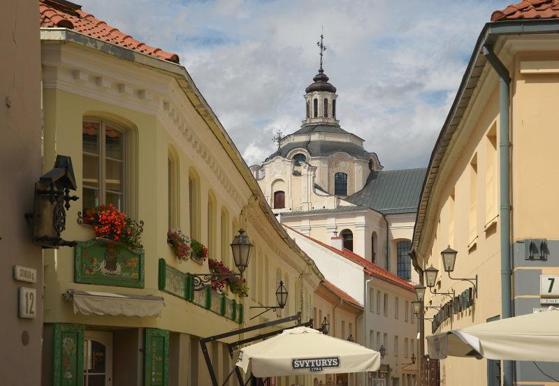 Straatbeeld in Vilnius